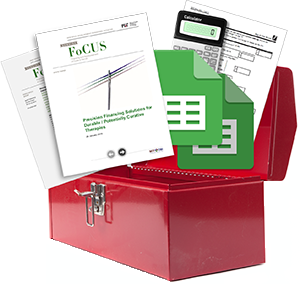 Toolbox with research papers and calculators coming out