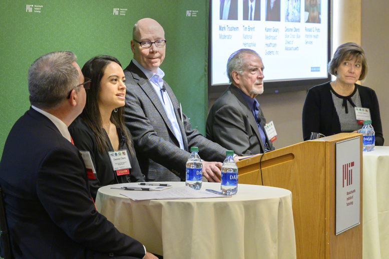 Tim Brent, Desiree Otenti, Mark Trusheim, Ron Potts, and Karen Geary speaking at the March 2020 Paying for Cures Workshop